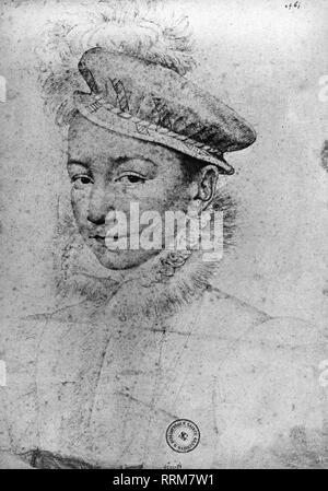 Charles IX, 27.6.1550 - 30.5.1574, King of France 1560 - 1574, portrait, drawing, by Francois Clouet, 1560, Bibliotheque Nationale, Paris, Additional-Rights-Clearance-Info-Not-Available - Stock Photo