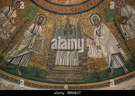 Italy. Ravenna. Arian Baptistery. Theodoric era. 5th-6th centuries. Mosaic. Early Christians. Procession of the Apostles. - Stock Photo