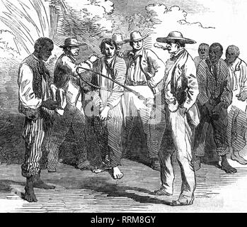 Stowe, Harriet Elizabeth Beecher, 14.6.1811 - 1.7.1896, American author / writer, works 'Uncle Tom's Cabin', scene from a dramatisation at the 'Oympic Theatre', wood engraving, from: 'The Illustrated London News', London, circa 1869, Additional-Rights-Clearance-Info-Not-Available - Stock Photo