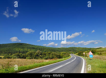 Road among green fields, blue sky and white clouds in the background - Stock Photo
