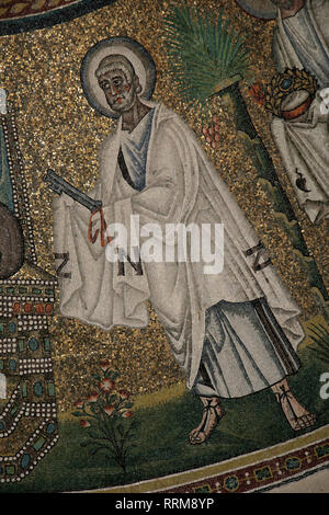 Italy. Ravenna. Arian Baptistery. Theodoric era. 5th-6th centuries. Mosaic. Procession of the Apostles. St. Peter. - Stock Photo