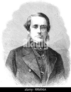 Coles, Cowper Phipps, 1819 - 7.9.1870, British naval officer and inventor, portrait, wood engraving, 'The Illustrated London News', 19.4.1862, Additional-Rights-Clearance-Info-Not-Available - Stock Photo