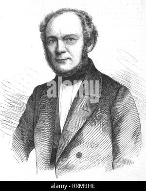 Vogell, Christian Adolf, 2.3.1806 - 23.1.1865, German architect, Royal Hanoverian court master-builder, portrait, wood engraving, 1857, Additional-Rights-Clearance-Info-Not-Available - Stock Photo