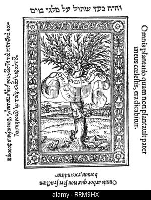 Zwingli, Ulrich, 1.1.1484 - 11. 10.1531, Swiss reformer, works, Amica exegesis, 1527, woodcut, Additional-Rights-Clearance-Info-Not-Available - Stock Photo
