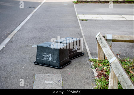 Black Box containers emptied! Local refuse collection for paper, cans and bottles. - Stock Photo