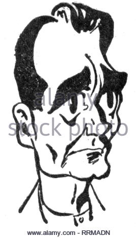 Hess, Rudolf, 26.4.1894 - 17.8 1987, German politician (NSDAP), 'Stellvertreter des Fuehrers',', portrait, caricature, 1940s, Artist's Copyright must also be cleared - Stock Photo