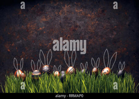 Set of stylish eggs with Easter bunny ears on green grass against grungy dark background, space for text - Stock Photo