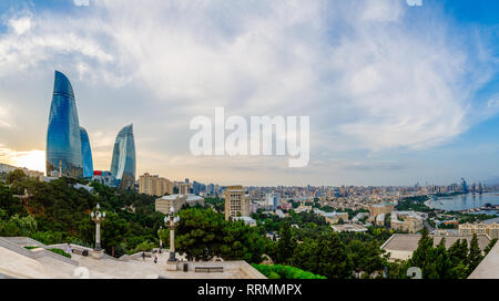 Overview panorama of central city business district in the sunset, Baku, Azerbaijan - Stock Photo