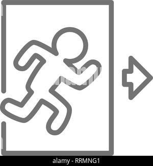 Emergency exit, man running out sign line icon. - Stock Photo