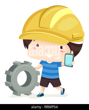 Illustration of a Kid Boy Wearing a Yellow Hard Hat, Pushing a Cog and Showing a Mobile Phone. App Developer - Stock Photo