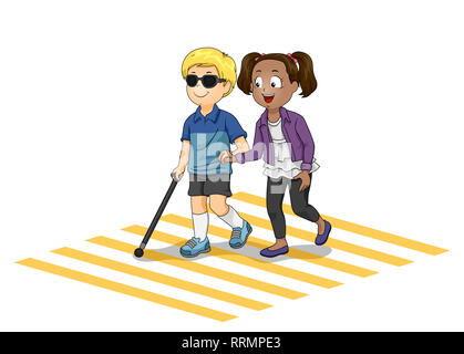Illustration of a Kid Girl Helping a Blind Kid Boy Crossing the Street - Stock Photo