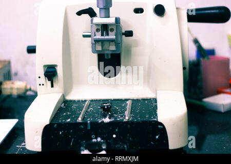 a pathological tissue grossing section thin slice making microtome for hitopathological analysis - Stock Photo