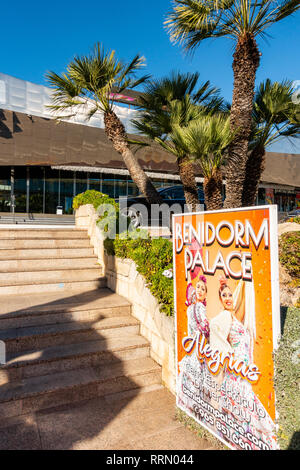The Benidorm Palace, famous show bar cabaret club in Benidorm, Costa Blanca, Spain with it's distinctive shape and stainless steel finish. - Stock Photo