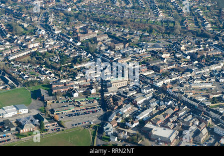 An aerial view of Honiton Town Centre, Devon, South West England, UK - Stock Photo