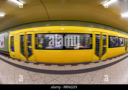 Underground, U9, station Kurfürstendamm, Charlottenburg, Berlin, Germany, U-Bahn, Station Kurfürstendamm, Deutschland - Stock Photo