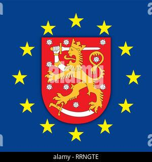 Suomi Finland coat of arms on the European Union flag, vector illustration - Stock Photo