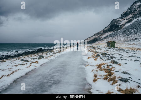 Woman walking along icy beach, Lofoten Islands, Norway - Stock Photo
