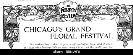 . Florists' review [microform]. Floriculture. -1 -' F L remote: f^TORAGE. CHICAGO'S GRAND FLORAL FESTIVAL The modern flower sJiow is quite a different affair from what it was in the days when beautiful blooms were enough to attract the public, bnt, for- getting the sideshow features, the flowers are finer than ever and the arrangement improves each year. The retailers have come to appreciate the value of the shows for gaining buaincss.. Please note that these images are extracted from scanned page images that may have been digitally enhanced for readability - coloration and appearance of these - Stock Photo