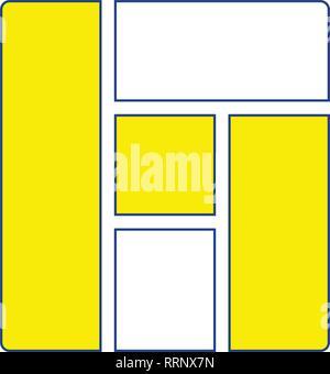Icon of parquet plank pattern. Thin line design. Vector illustration.