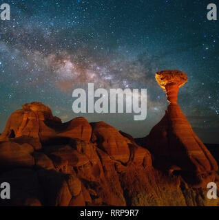 Images from Toadstool Hoodoos Trail in Grand Staircase - Escalante National Monument in Utah - Stock Photo