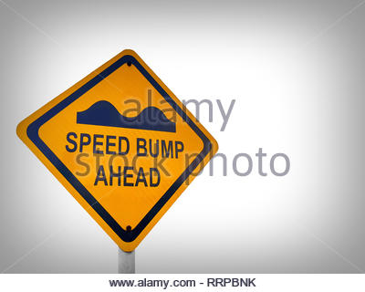Yellow speed bump traffic sign, on a white background - Stock Photo
