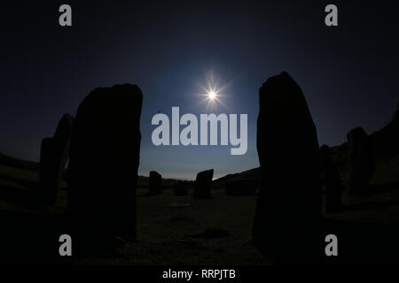 eerie view of large stone circle, drombeg, county cork, ireland - Stock Photo