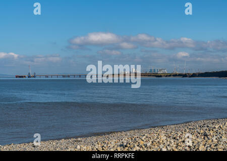 Lilstock Beach, Somerset, England, UK - October 04, 2018: Looking over the Bristol Channel with Hinkley Point Nuclear Power Station in the background - Stock Photo