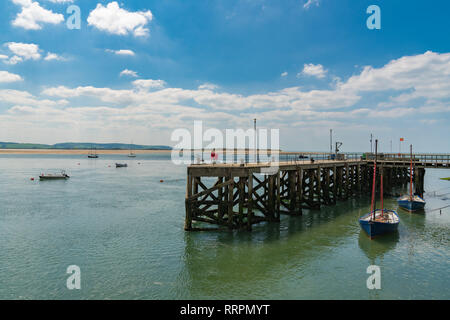 Aberdyfi, Gwynedd, Wales, UK - May 25, 2017: View from the beach towards boats in the river - Stock Photo