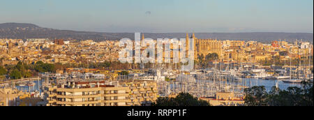Palma de Mallorca - The cityscape of the town in evening light with the cathedral La Seu. - Stock Photo