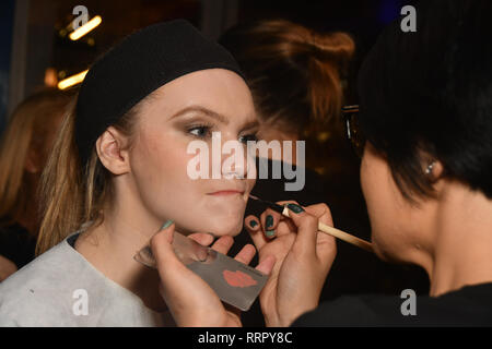 London, UK. 26th Feb, 2019. Designer Nina Naustdal perparing (backstage) catwalk show s/s 2019/2020 collection by The London School of Beauty & Make-up at Bagatelle on 26 Feb 2019, London, UK. Credit: Picture Capital/Alamy Live News - Stock Photo