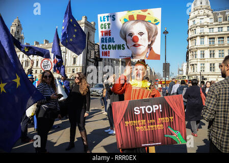 London, UK. 26th  Feb, 2019.Remain and Leave campaigners outside the Houses of Parliament.  Credit: Claire Doherty/Alamy Live News - Stock Photo