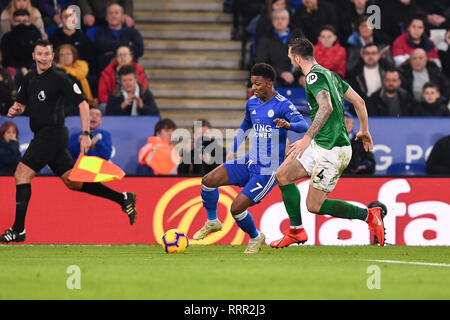 LEICESTER , UK  26TH FEBRUARY Leicester City midfielder Demarai Gray (7) battles with Shane Duffy during the Premier League match between Leicester City and Brighton and Hove Albion at the King Power Stadium, Leicester on Tuesday 26th February 2019. (Credit: Jon Hobley | MI News & Sport Ltd) - Stock Photo