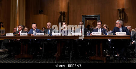 Richard A. Gonzalez, Chairman and Chief Executive Officer, AbbVie Inc. (L), Pascal Soriot, Executive Director and Chief Executive Officer, AstraZeneca(2nd L), Giovanni Caforio, M.D., Chairman of the Board and Chief Executive Officer, Bristol-Myers Squibb Co. (3rd L) Jennifer Taubert, Executive Vice President, Worldwide Chairman, Janssen Pharmaceuticals Johnson & Johnson (C), Kenneth C. Frazier, Chairman and Chief Executive Officer, Merck & Co., Inc. (3rd R), Albert Bourla, DVM, Ph.D. Chief Executive Officer, Pfizer(2nd R) and Olivier Brandicourt, M.D., Chief Executive Officer Sanofi (R) appear - Stock Photo