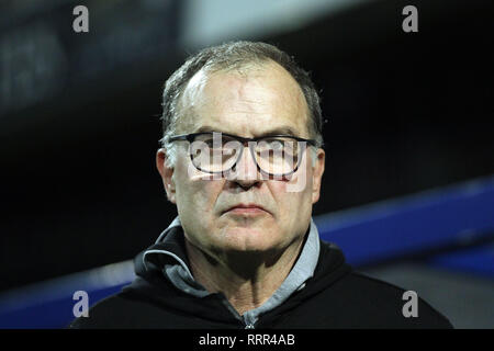 London, UK. 26th Feb, 2019. Leeds United Manager Marcelo Bielsa looks on. EFL Skybet championship match, Queens Park Rangers v Leeds United at Loftus Road Stadium in London on Tuesday 26th February 2019. this image may only be used for Editorial purposes. Editorial use only, license required for commercial use. No use in betting, games or a single club/league/player publications. pic by Steffan Bowen/Andrew Orchard sports photography/Alamy Live news Credit: Andrew Orchard sports photography/Alamy Live News - Stock Photo