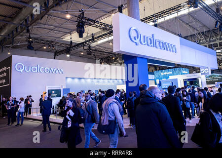 Barcelona, Catalonia, Spain. 26th Feb, 2019. QUALCOMM pavilion during the GSMA Mobile World Congress 2019 in Barcelona, the world's most important event on mobile devices communications bringing together the leading companies and the latest developments in the sector. Credit: Jordi Boixareu/ZUMA Wire/Alamy Live News - Stock Photo