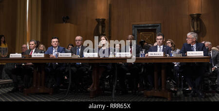 February 26, 2019 - Washington, District of Columbia, U.S. - Richard A. Gonzalez, Chairman and Chief Executive Officer, AbbVie Inc. (L), Pascal Soriot, Executive Director and Chief Executive Officer, AstraZeneca(2nd L), Giovanni Caforio, M.D., Chairman of the Board and Chief Executive Officer, Bristol-Myers Squibb Co. (3rd L) Jennifer Taubert, Executive Vice President, Worldwide Chairman, Janssen Pharmaceuticals Johnson & Johnson.(C), Kenneth C. Frazier, Chairman and Chief Executive Officer, Merck & Co., Inc. (3rd R), Albert Bourla, DVM, Ph.D. Chief Executive Officer, Pfizer(2nd R) and Olivier - Stock Photo