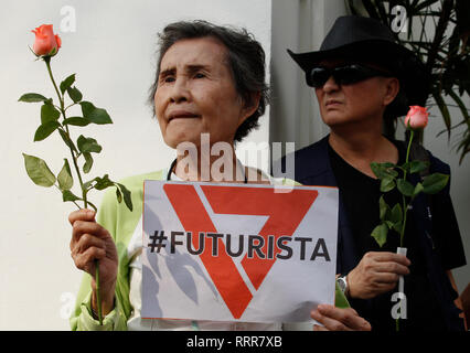 Supporters of Future Forward Party leader Thanathorn Juangroongruangkit seen gathers at the Office of the Attorney General in Bangkok. Future Forward Party leader facing charges over anti-junta speech posted earlier on his Facebook page less than a month before long postponed Thailand's national election day. - Stock Photo
