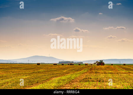Hay bales and tractor in the field in countryside after harvest in summer - Stock Photo