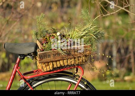 Wine bottles Wooden box filled with flowers stands on a bicycle rack with the German inscription 'Wine gives happiness' - Stock Photo