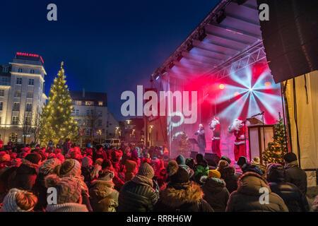 Santa Claus performing at Christmas Celebrations, Reykjavik, Iceland