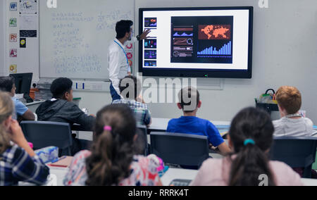 Male teacher leading lesson at touch screen television in classroom - Stock Photo
