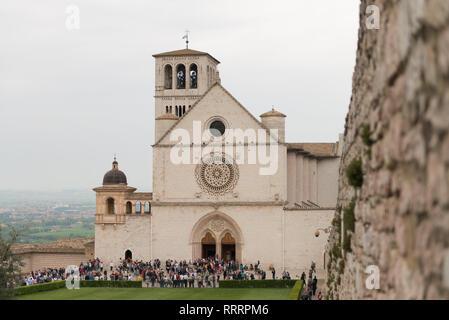 The Basilica of Saint Francis of Assisi in Piazza Superiore di San Francesco, Assisi, Umbria - Stock Photo