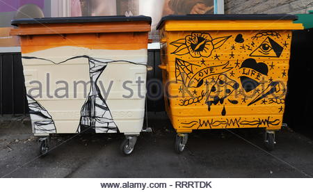 Waste of Space brightly painted waste and recycling bins Perth Road Dundee Scotland  February  2019 - Stock Photo