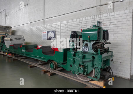 A 1930's Mail Rail rail car from the Post Office Railway in London on display in the National Railway Museum, York, UK. - Stock Photo