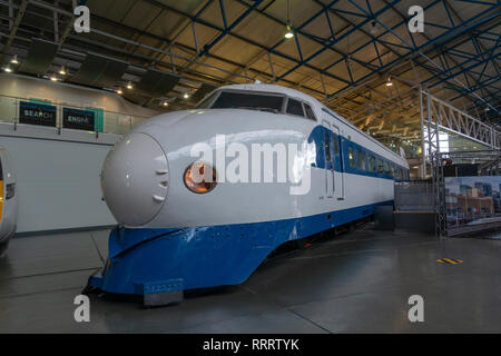 The first generation Shinkansen, the Japanese Bullet Train on display in the National Railway Museum, York, UK. - Stock Photo