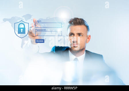 handsome adult businessman in suit touching world map and login isolated on white, artificial intelligence concept - Stock Photo