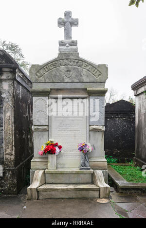 Cemetery New Orleans, view of a family monument in Lafayette Cemetery No.1, New Orleans, Louisiana, USA - Stock Photo