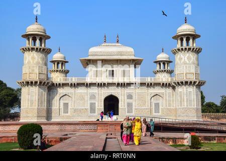 Itmad-ud-Daula, Baby Taj, Mughal mausoleum tomb, Agra, India - Stock Photo