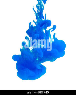 Blue acrylic color in water, abstract background. - Stock Photo