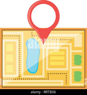 paper map guide with pin location vector illustration design - Stock Photo